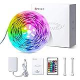 Tira LED decoracion de luces,TECKIN 5M RGB con 150 LED multicolor 5050 iluminación para casa, fiestas, bares y exteriores.Con control remoto y 12V 2A fuente de alimentación, eficiencia energética.