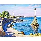 ZXDA Paisaje Marino DIY Pintura al óleo por números Kit Pintura acrílica por números Obra de Arte Pinturas de Bricolaje Arte sobre Lienzo Pintura A6 45x60cm
