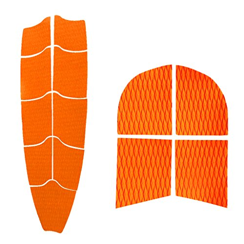 MonkeyJack Self Adhesive Diamond Grooved Non-slip EVA 9Pcs Full Deck Traction Pad + 4Pcs Dog Traction Grip Mat Tail Pads for SUP Surfboard Paddleboard Longboard - Orange