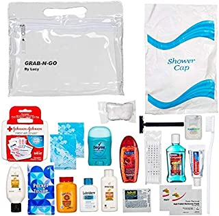 Women's Ultimate Travel Toiletries Bag, Shampoo, Conditioner, Body Wash, Bar Soap, Deodorant, Toothbrush, Toothpaste, Floss, Nail Polish Remover Pads, Bundle of TSA Approved Size (Clear Women's Bag)