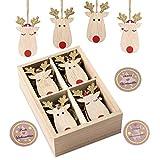 KOHMUI Holz Weihnachtsdeko Anhänger Set, Christbaumschmuck Weihnachtsbaumschmuck, Baumschmuck zum Hängen, 24 Christbaum Hirschkopf Rentier Weihnachtssnhänger mit 18 Frohe Weihnachten Aufkleber
