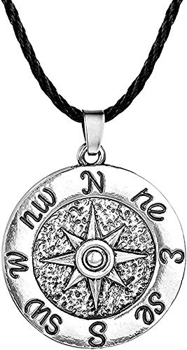 NC198 Collar, Collar Antiguo nórdico para Mujeres, Hombres, brújula Redonda Simple, Colgante de Cuerda, Collares, joyería Retro