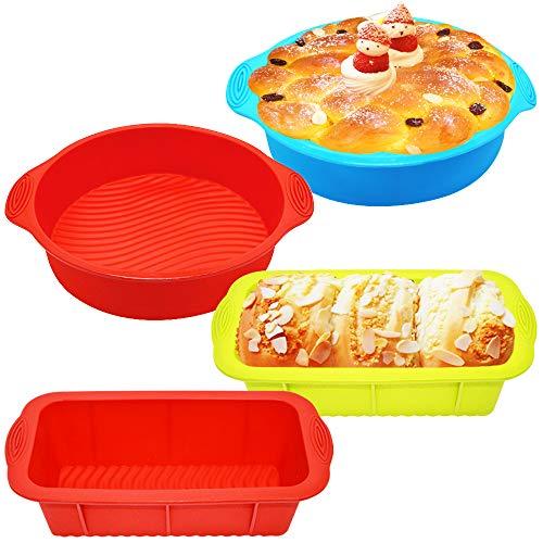 PUDSIRN 6 große Silikon-Brotdosen-Set, 2 antihaftbeschichtete Silikon-Kastenformen, 2 Silikon-Backformen und 2 Öl-Pinsel für selbstgemachte Kuchen, Brote, Hackbraten, Quiche, Kuchen