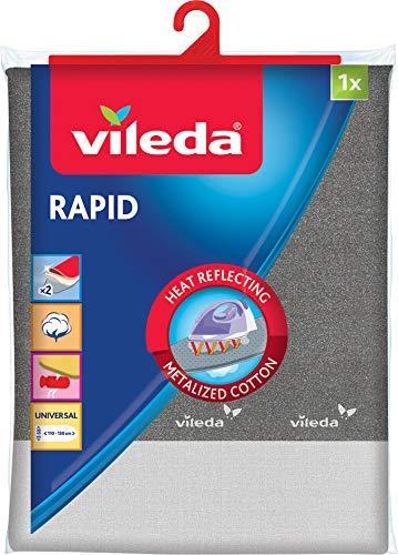 Vileda Rapid- Funda de planchar, 2 capas adaptable a todo tipo de tablas, funda de planchar metalizada, medidas: 130 x 45 cm, color gris