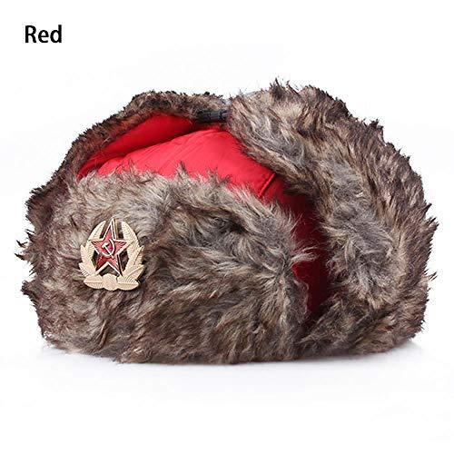 XCLWL heren wintermuts valse oorflap caps voor mannen, militair, badge, militair, bombers, hoeden, pilotenmuts