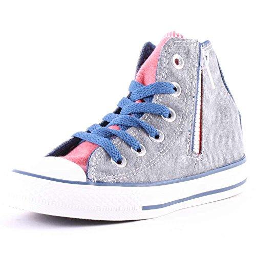 Converse All Star Chuck Taylor CT Side Zip HI Kinder Schuhe Peacock GRAU ROSA, Farbe:Grau, Schuhgröße:EUR 31 1/2