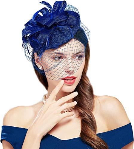 meimie00 Plume Glamour Chapeau Dame Fleur Bowknot Maille De Mariage Mariée Élégant Glamour Bandeau Cocktail Tea Party Lady Carnaval Vêtements Accessoires-F49-Bleu