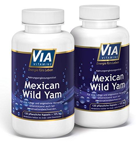 Mexican Wild Yam 2er Sparpack, 750mg/Kapsel, KEIN Extrakt, Premiumqualität aus Deutschland,120 vegane Kapseln