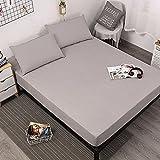 XGguo Protector de colchón Transpirable.Rizo Bambú. Paquete Completo de Mojado de Cama de diafragma de sábana Impermeable-Gray_120X200 + 30CM