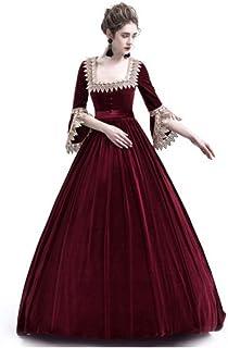 19e9902487b Fanessy Halloween Médiéval Déguisement pour Femme Noir Rouge élégant Robe  de Princesse Reine à Manches Longues