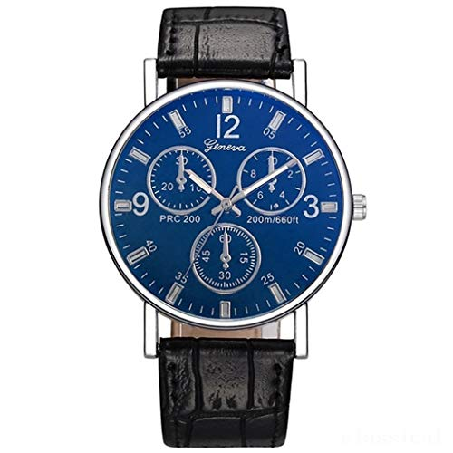 Men's Business Wristwatch, Blue Glass Mirror Surface Classic 3 Eyes 6 Pointers Arabic Numbers Scale Dial Watch with Leather Belt Best Gifts Jewelry (A)