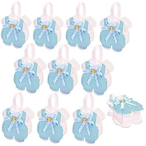 JZK 24 x Blauer Baby Strampler Gastgeschenk Süßigkeiten Schachtel für Baby Junge Geburtstag Taufe Neugeborenen Babyparty Baby Shower Kinder Party