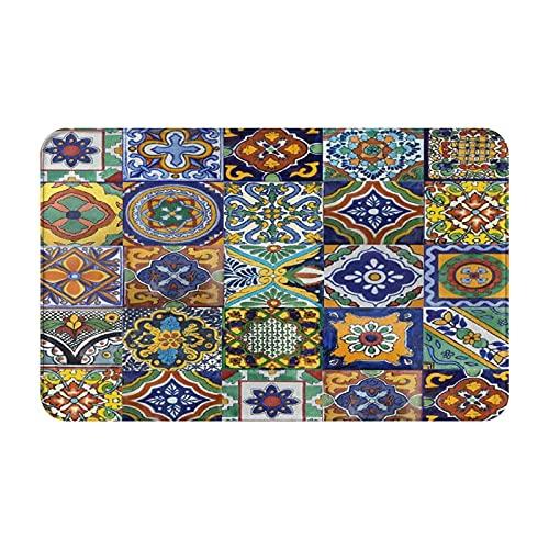MJIAX Alfombras de baño, alfombras de baño,Azulejos Mexicanos Art1, Alfombras de Felpa Alfombras Felpudo Suave y Duradero Alfombras decoración Antideslizante