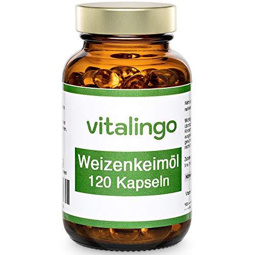 Weizenkeimöl Kapseln vitalingo - kaltgepresst, hochdosiert - enthält Spermidin, Omega 3, Omega 6, Vitamin A, B, D, K