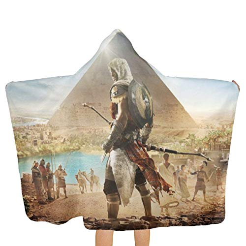 Hdadwy Assassins Creed Egypt Pyramid Kapuzen-Strandtuch mit Kapuze Strand-Badetücher...