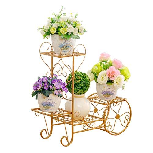ZHEYANG Soporte para plantas de flores y carritos de flores de metal para interiores o interiores, para decoración de jardín o macetas, regalos para esposa (color: oro, tamaño: M)