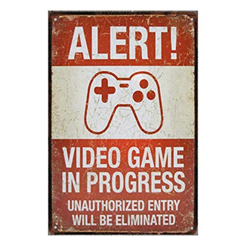 Shimeier Alert Video Game Retro Vintage Tin Sign Coffee House Business Dining Room Pub Beer 20 cm x 30 cm