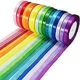 Wtrcsv Satinband 16 Farben 22m X 10mm, Schleifenband Geschenkband Bänder zum Basteln, 16 Farben...