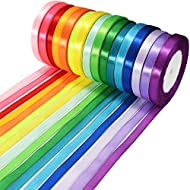 Fabric ribbon roll size: the ribbon rolls are approx. 10 mm/ 0.4 inch in width and 25 yards/ 22.86 m in length of each roll, easy to be cut into suitable size for using Quality material: this set of ribbon rolls is made of polyester fabric,the face o...