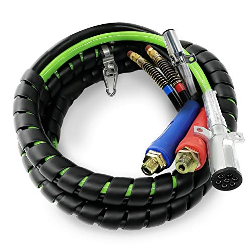 TORQUE 15ft 3 in 1 ABS & Air Power Line Hose Wrap 7 Way Electrical Cable with Handle Grip for Semi Truck Trailer Tractor (TR813215)