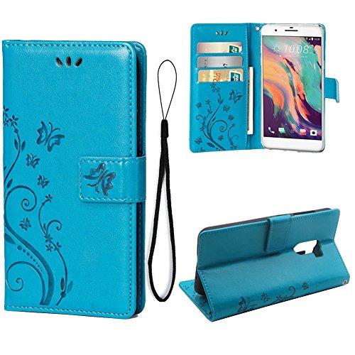 Teebo Hülle für HTC ONE X10 Schutzhülle aus PU Leder Handyhülle mit geprägtem Schmetterling-Muster Kartenfach & Magnetverschluss Blau