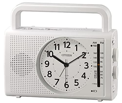 リズム(RHYTHM) シチズン 目覚まし時計 防災 AM/FM ラジオ ワイドFM対応 発電 LED ライト スマートフォン 携帯電話 充電機能 白 CITIZEN 4RQ001-003