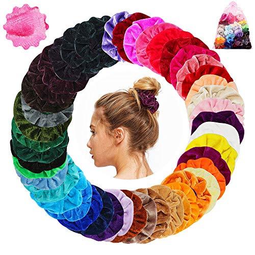 45 Stück Scrunchies Haargummis Samt 45 Farben Haar Gummibänder Haarbänder Elastische für Damen und Mädchen Haarschmuck
