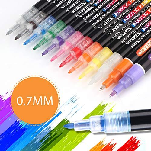 Stifte zum Steine Bemalen,2mm Wasserfeste Stift Schnelltrocknend,12 Farben Permanent Marker Paint Pen Set f/ür Glas,Leinwand,Glas,Metall Holz,Reifen DIY