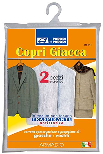 Parodi & Parodi Guardaroba 2 Copri Giacca Traspiranti, Polipropilene, Bianco, 15x21x1 cm, 2 unità