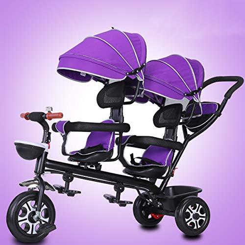 Dubbele peuter & baby kinderwagen driewieler, draaibare zitwagen, ultra lichte grote opbergmand gordel jongens meisjes vouwfiets, Paars