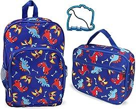 Keeli Kids Dinosaur Bookbag Backpack & Lunch Box Set Kindergarten Preschool Toddler Boys and Girls Lunchboxes in Dino Blue