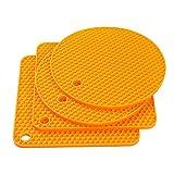 Czemo Topfuntersetzer Hitzebeständig Silikon, 4 Mehrzweck rutschfest-Untersetzer/Topflappen Set, für Warme Speisen, Küchen Topflappen Glasöffner, Löffelhalter, Untersetzer (Orange)