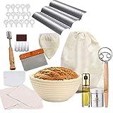 ZULINARY Bread Baking Accessories| Baguette Pan| 9' Sourdough banneton Proofing Basket Set| Bread...