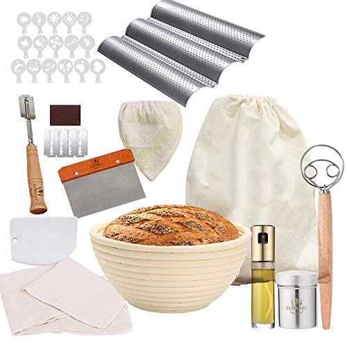 ZULINARY Bread Baking Accessories| Baguette Pan| 9' Sourdough banneton Proofing Basket Set| Bread Making Kit