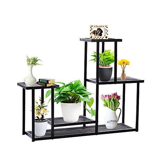 Taleco Gear Pflanzenregal mit 4 Ebenen aus Metall, Blumentöpfe, Ständer, Ständer, für drinnen und draußen, Schwarz