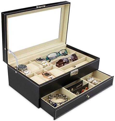 Schmuckkasten für Brillen & Uhren - Schwarz ca. 33 x 20 x 13 cm - Aufbewahrungskiste mit Glas Display zur Präsentation