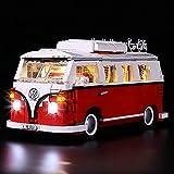 LocoLee Kit de iluminación LED para Creator Expert Volkswagen T1 Camper Van Light Set Compatible con VW Bus 10220 Building Blocks Model, no incluye el juego Lego