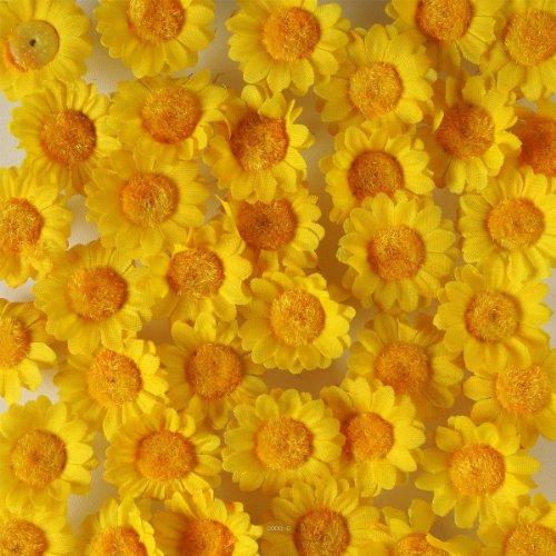 Artif-deco - Tetes de marguerite artificielles jaune x 36 en sachet d 3 cm - choisissezvotrecoloris: jaune d or