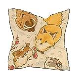 ALARGE - Bufanda cuadrada de seda, diseño vintage de zorro, pájaro, conejo, protector solar, ligero y suave, bufandas, chal envolvente, para mujeres y niñas