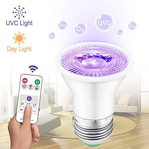 YChoice365 Led-uv-lampe, E27 / Gu10 Uv-sterilisationsstrahler Germizides Licht Mit Fernbedienung Ip54 Wasserdicht, Timer-funktion, Beleuchtung Desinfektion Ddual-zweck-lampe - Warmes Licht