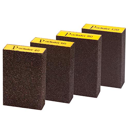 Sanding Sponge,Coarse & Fine Sanding Blocks in 40/60/80/120 Grit for Brush Pots, Polishing Wood and Metal,Washable and Reusable.(4 Pcs)