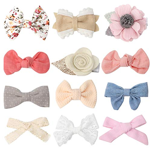Baby Girl Alligator Hair Bow Clips Assorted Flower Newborn Infant Barrettes for Fine Hair 12Pcs Handcrafted Hair Accessories for Toddler Girls