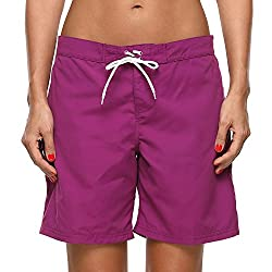 Long swim boardshort featuring pocket at side Solid swim shorts with drawstring and elastic waistband Quick dry beach boardshorts help keep you cool and comfortable Sports swimsuit bottoms, perfect for swimming and beach vacation Swimming shorts can ...