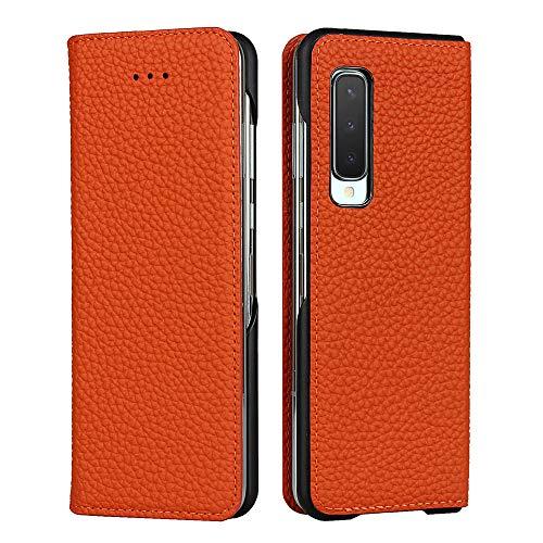 Galaxy Fold SCV44 ケース 手帳型 カバー Zouzt 牛革 本革レザー 本皮 財布型 カード収納 スタンド マグネット 耐衝撃 おしゃれ 6色 オレンジ