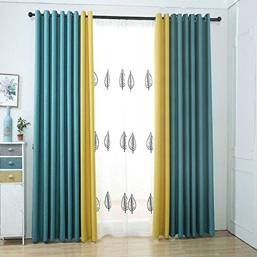 Nclon Deux Couleurs épissure Rideau Rideaux,Coton Chanvre Occultants Opaque Chambre Salon Rideau Rideaux Attacher-Bleu + Jaune 1 Panneau W200cm*D270cm