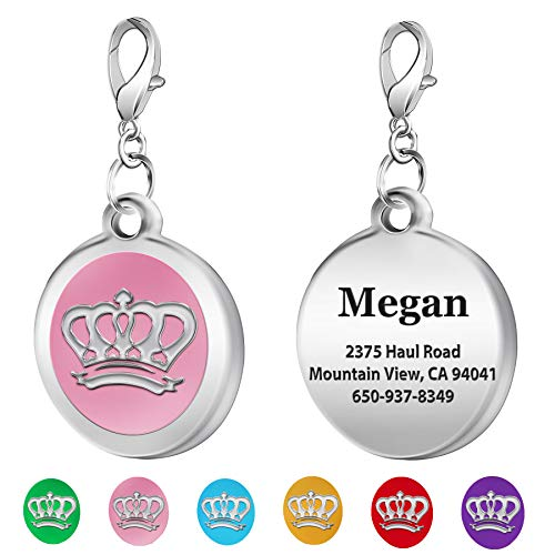 TedYoho Personalized Majestic Crown Name Engraved Round Shaped Colorful Pet ID Dog Tags Laser Etched Deep on Stainless Steel (Pink)