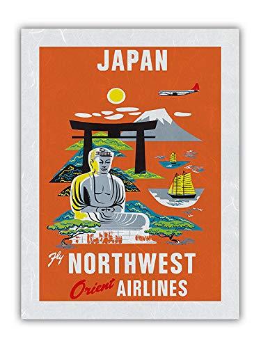 Japan – Mount Fuji, Buddha – Fly Northwest Orient Airlines – Vintage Fluggesellschaft Reise Poster c.1950er – Premium Unryu Reispapier Kunstdruck 30,5 x 40,6 cm