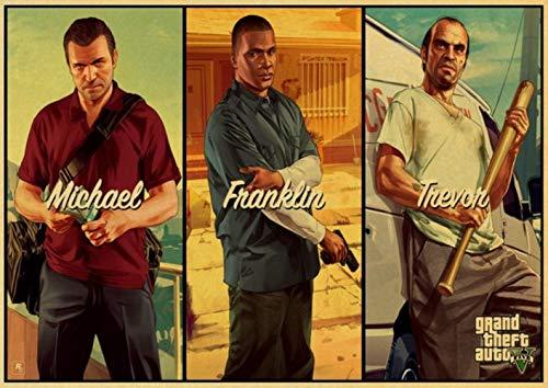 PC Game GTA5 Grand Theft Auto V Vintage Papier Poster Muurschildering Huisdecoratie 42X30 cm 30X21 cm,A26,42X30 cm