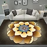 QPCGRA Teppich, Blau Gelb Braun Blume, Super Weich Flauschig Shaggy Teppich, Teppiche Wohnzimmer...