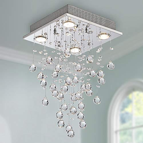 Bestier Moderne Kristall Regentropfen Kronleuchter Beleuchtung Unterputz LED Deckenleuchte Leuchte Pendelleuchte für Esszimmer Badezimmer 4 GU10 LED Birnen Erforderlicher Durchmesser 30cm Höhe 50 cm